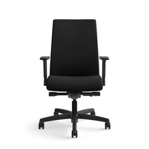 HON Ignition Mid-Back Task Chair | Synchro-Tilt, Back Angle, Tension, Multi-Position Lock, Seat Glide | Adjustable Arms | Black Fabric ; UPC: 631530316219 ; Image 12