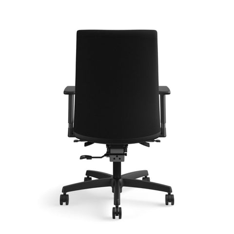HON Ignition Mid-Back Task Chair | Synchro-Tilt, Back Angle, Tension, Multi-Position Lock, Seat Glide | Adjustable Arms | Black Fabric ; UPC: 631530316219 ; Image 6