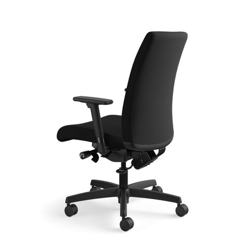 HON Ignition Mid-Back Task Chair | Synchro-Tilt, Back Angle, Tension, Multi-Position Lock, Seat Glide | Adjustable Arms | Black Fabric ; UPC: 631530316219 ; Image 8