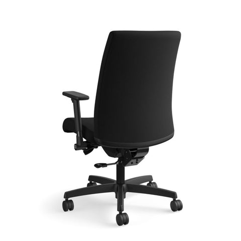 HON Ignition Mid-Back Task Chair | Synchro-Tilt, Back Angle, Tension, Multi-Position Lock, Seat Glide | Adjustable Arms | Black Fabric ; UPC: 631530316219 ; Image 7