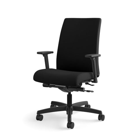 HON Ignition Mid-Back Task Chair | Synchro-Tilt, Back Angle, Tension, Multi-Position Lock, Seat Glide | Adjustable Arms | Black Fabric ; UPC: 631530316219 ; Image 11