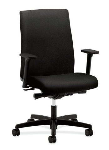 HON Ignition Mid-Back Task Chair | Synchro-Tilt, Back Angle, Tension, Multi-Position Lock, Seat Glide | Adjustable Arms | Black Fabric ; UPC: 631530316219 ; Image 1