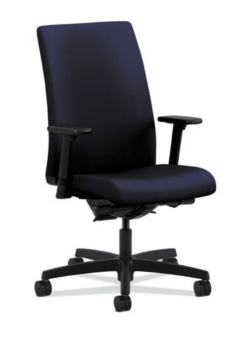 HON Ignition Mid-Back Task Chair | Synchro-Tilt, Back Angle, Tension, Multi-Position Lock, Seat Glide | Adjustable Arms | Navy Fabric ; UPC: 089191451488 ; Image 1