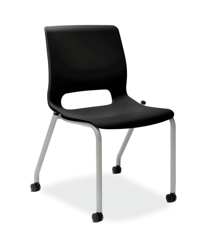 HON Motivate Stacking Chair | Onyx Shell | Textured Platinum Frame | 2 per Carton ; UPC: 889218803616 ; Image 1