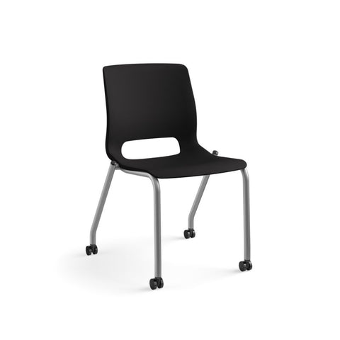 HON Motivate Stacking Chair | Onyx Shell | Textured Platinum Frame | 2 per Carton ; UPC: 889218803616 ; Image 13