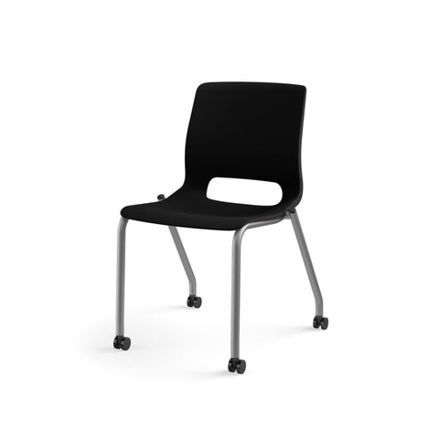 HON Motivate Stacking Chair | Onyx Shell | Textured Platinum Frame | 2 per Carton ; UPC: 889218803616 ; Image 11