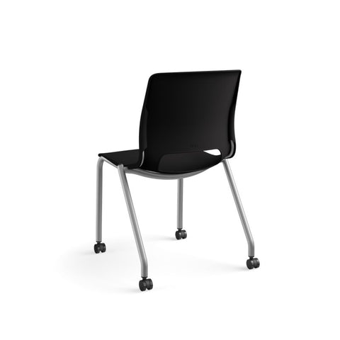 HON Motivate Stacking Chair | Onyx Shell | Textured Platinum Frame | 2 per Carton ; UPC: 889218803616 ; Image 7