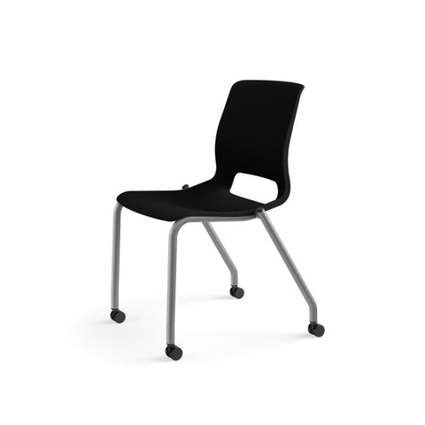 HON Motivate Stacking Chair | Onyx Shell | Textured Platinum Frame | 2 per Carton ; UPC: 889218803616 ; Image 10