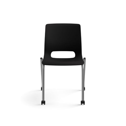 HON Motivate Stacking Chair | Onyx Shell | Textured Platinum Frame | 2 per Carton ; UPC: 889218803616 ; Image 12