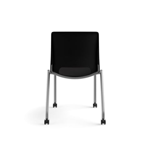 HON Motivate Stacking Chair | Onyx Shell | Textured Platinum Frame | 2 per Carton ; UPC: 889218803616 ; Image 6