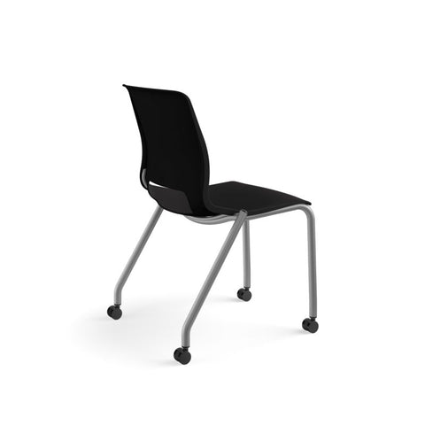 HON Motivate Stacking Chair | Onyx Shell | Textured Platinum Frame | 2 per Carton ; UPC: 889218803616 ; Image 4