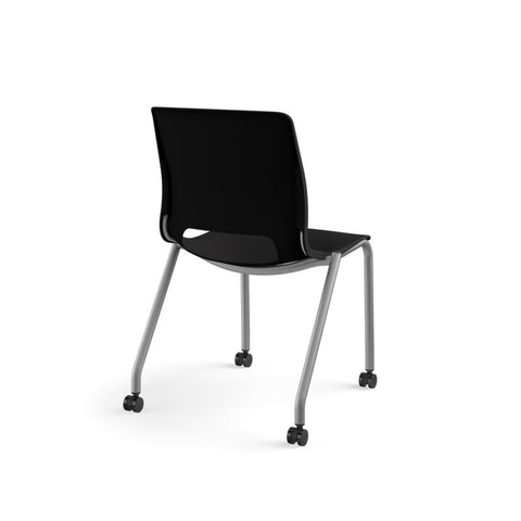 HON Motivate Stacking Chair | Onyx Shell | Textured Platinum Frame | 2 per Carton ; UPC: 889218803616 ; Image 5