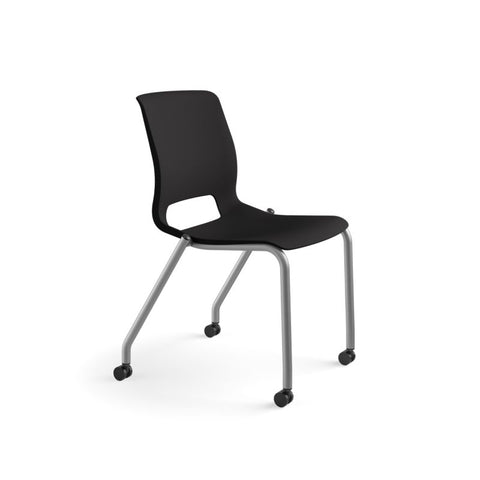 HON Motivate Stacking Chair | Onyx Shell | Textured Platinum Frame | 2 per Carton ; UPC: 889218803616 ; Image 2