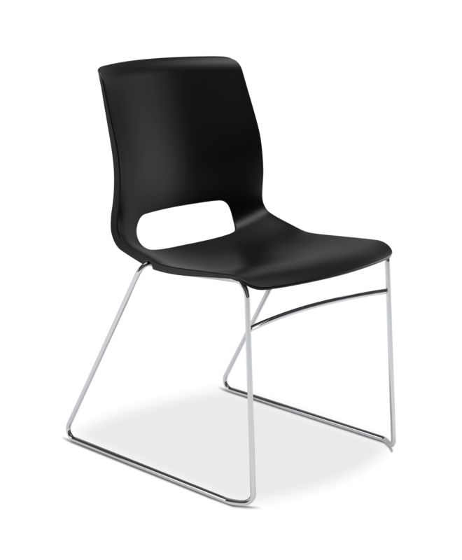 HON Motivate High-Density Stacking Chair | Onyx Shell | 4 per Carton ; UPC: 631530562852 ; Image 1