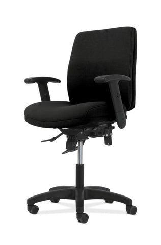 HON Contemporary Mid-Back Task Chair | Asynchronous Control | Height- and Width-Adjustable Arms | Black Fabric ; UPC: 191734940646 ; Image 6