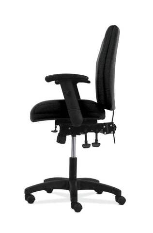 HON Contemporary Mid-Back Task Chair | Asynchronous Control | Height- and Width-Adjustable Arms | Black Fabric ; UPC: 191734940646 ; Image 4