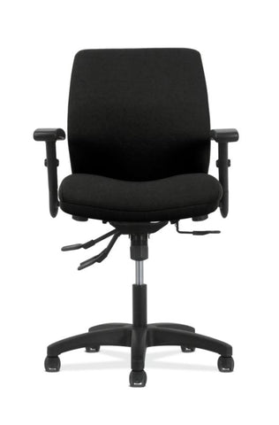 HON Contemporary Mid-Back Task Chair | Asynchronous Control | Height- and Width-Adjustable Arms | Black Fabric ; UPC: 191734940646 ; Image 2