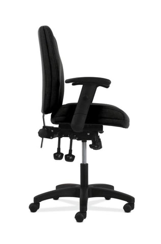 HON Contemporary Mid-Back Task Chair | Asynchronous Control | Height- and Width-Adjustable Arms | Black Fabric ; UPC: 191734940646 ; Image 3