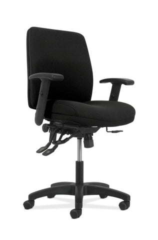 HON Contemporary Mid-Back Task Chair | Asynchronous Control | Height- and Width-Adjustable Arms | Black Fabric ; UPC: 191734940646 ; Image 1