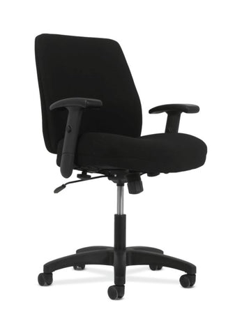 HON Contemporary Mid-Back Task Chair | Swivel-Tilt Control | Height- and Width-Adjustable Arms | Black Fabric ; UPC: 641128986625 ; Image 1