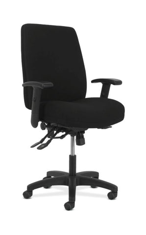HON Contemporary High-Back Task Chair | Asynchronous Control | Height- and Width-Adjustable Arms | Black Fabric ; UPC: 089192040056 ; Image 1