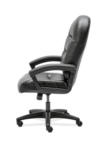 HON Pillow-Soft Executive High-Back Chair | Fixed Arms | Black SofThread Leather ; UPC: 888206940166 ; Image 3