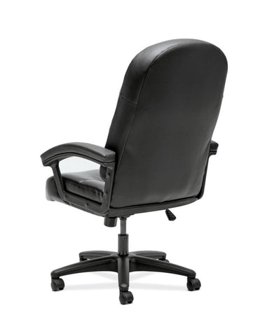 HON Pillow-Soft Executive High-Back Chair | Fixed Arms | Black SofThread Leather ; UPC: 888206940166 ; Image 6