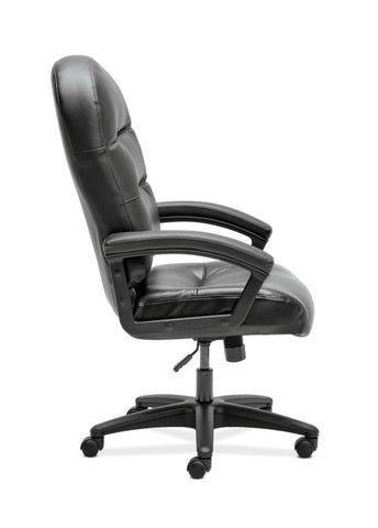 HON Pillow-Soft Executive High-Back Chair | Fixed Arms | Black SofThread Leather ; UPC: 888206940166 ; Image 7