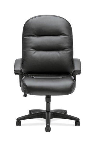 HON Pillow-Soft Executive High-Back Chair | Fixed Arms | Black SofThread Leather ; UPC: 888206940166 ; Image 2