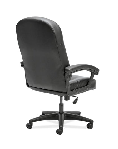 HON Pillow-Soft Executive High-Back Chair | Fixed Arms | Black SofThread Leather ; UPC: 888206940166 ; Image 5