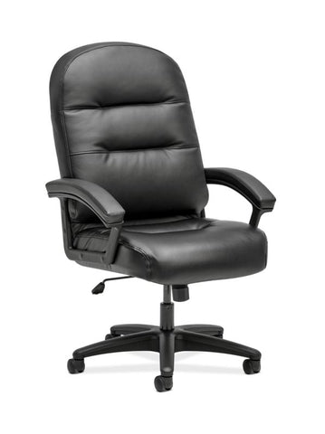 HON Pillow-Soft Executive High-Back Chair | Fixed Arms | Black SofThread Leather ; UPC: 888206940166 ; Image 1