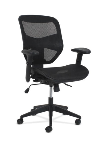 HON Prominent High-Back Task Chair | Synchro-Tilt with Seat Slide | Height- and Width-Adjustable Arms | Black Mesh ; UPC: 191734881178 ; Image 1