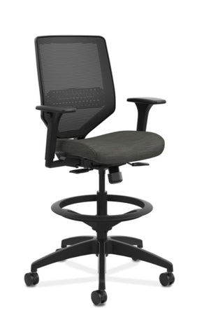 HON Solve Mid-Back Task Stool | Black ilira-Stretch Mesh Back | Adjustable Lumbar Support | Adjustable Arms | Black Frame | Ink Seat Fabric ; UPC: 888206650256 ; Image 1