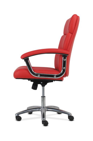 HON Traction High-Back Modern Executive Chair | Red Leather ; UPC: 641128070706 ; Image 4