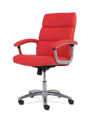 HON Traction High-Back Modern Executive Chair | Red Leather ; UPC: 641128070706 ; Image 6
