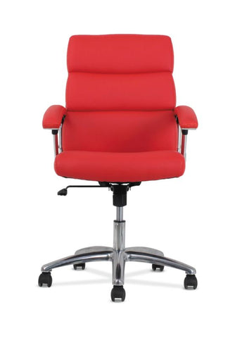 HON Traction High-Back Modern Executive Chair | Red Leather ; UPC: 641128070706 ; Image 2