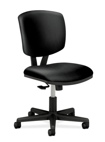 HON Volt Task Chair | Synchro-Tilt, Tension, Lock | Black SofThread Leather ; UPC: 631530062048 ; Image 1