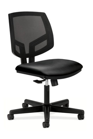 HON Volt Mesh Back Task Chair | Center-Tilt, Tension, Lock | Black SofThread Leather ; UPC: 020459245531 ; Image 1