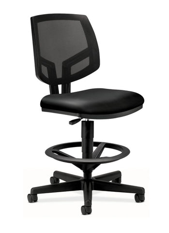HON Volt Mesh Back Task Stool | Extended Height, Footring | Black SofThread Leather ; UPC: 888531611151 ; Image 1