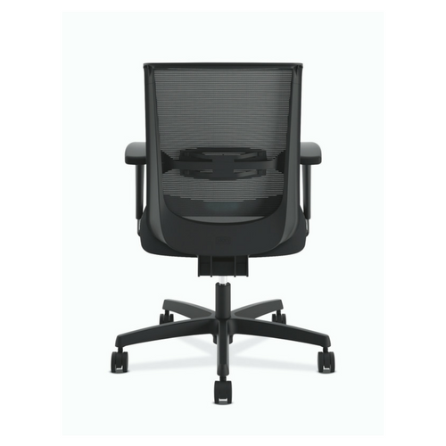HON Convergence Synchro-Tilt Task Chair with Seat Slide Control in Black Fabric, Back Angle