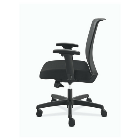 HON Convergence Synchro-Tilt Task Chair with Seat Slide Control in Black Fabric, Left Portrait
