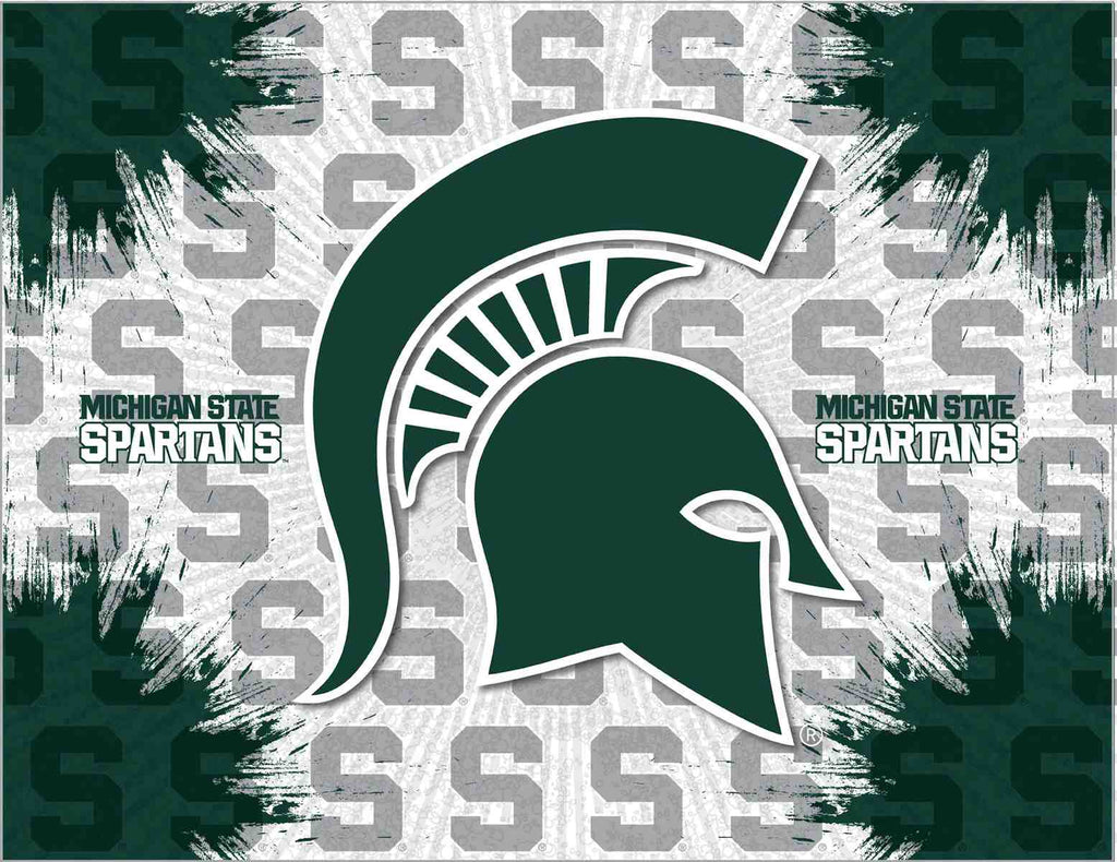 "Michigan State 24"" x 32"" Logo Canvas by Holland Bar Stool Company; UPC: 071235792299"