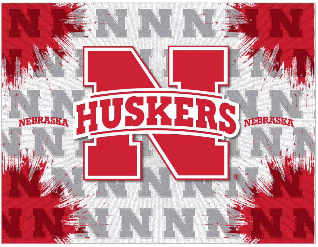 "Nebraska 24"" x 32"" Logo Canvas by Holland Bar Stool Company; UPC: 071235792473"