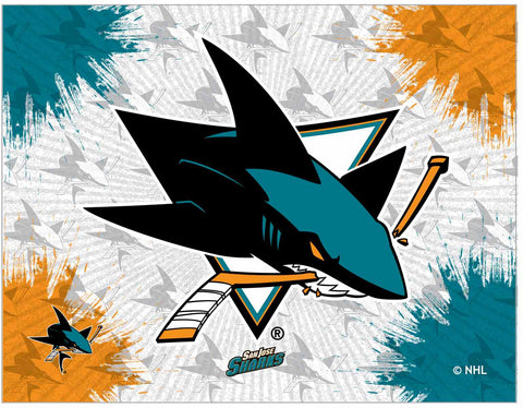 "San Jose Sharks 24"" x 32"" Logo Canvas by Holland Bar Stool Company; UPC: 071235793319"