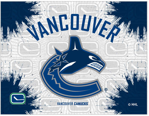 "Vancouver Canucks 24"" x 32"" Logo Canvas by Holland Bar Stool Company; UPC: 071235793357"