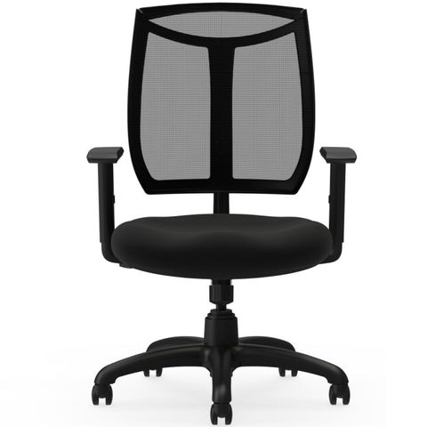 Lorell Made in America Mesh Back Chair w/Air Grid Fabric Seat in Black ; UPC: 035255831000 ; Front View