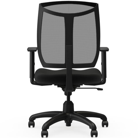 Lorell Made in America Mesh Back Chair w/Air Grid Fabric Seat in Black ; UPC: 035255831000 ; Back View