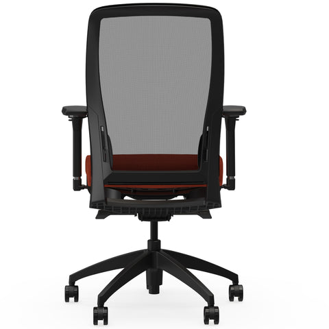 Lorell Made in America Executive Mesh Back/Fabric Seat Task Chair in Orange ; UPC: 035255831659 ; Back View