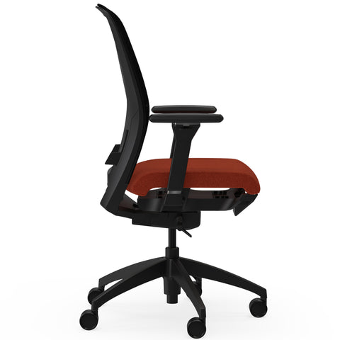 Lorell Made in America Executive Mesh Back/Fabric Seat Task Chair in Orange ; UPC: 035255831659 ; Side View