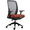Lorell Made in America Executive Mesh Back/Fabric Seat Task Chair in Orange